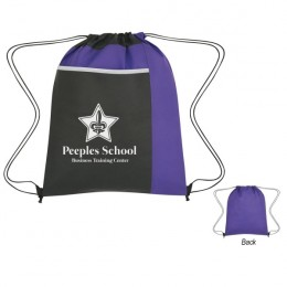 Imprinted Non-Woven Drawstring Pack -Lg Front Pocket - Purple