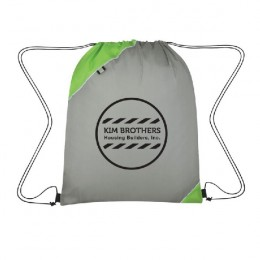 Triangle Corner Drawstring Sports Pack- Logo - Green