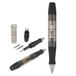 Imprinted Tool Pen with Screwdrivers and Light - Black