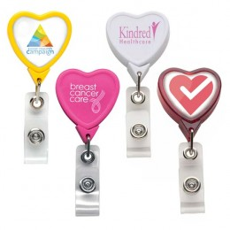 Heart Badge Reel with Imprinted Logo