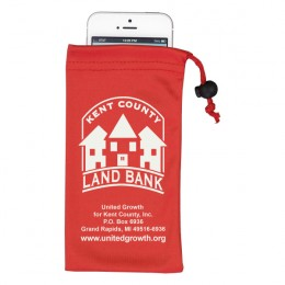 Promotional Microfiber Drawstring Pouch - Red