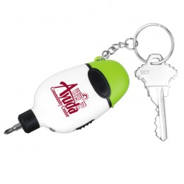 Imprinted 2 Bit Screwdriver Tool Kit KeyLight - Lime green
