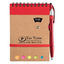 Promotional Grained Cardboard Spiral Memo Pad-Pen-Sticky Flags - Red