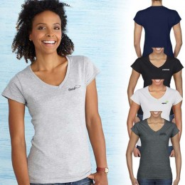 Imprinted Gildan Softstyle Ladies V-Neck T-Shirt