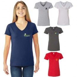 Promotional Sofspun Ladies Junior Fit V-Neck