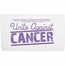 Best Small Promotional Beach Towel - White with Large Imprint Area