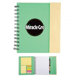 Promotional Recycled Spiral Notebook-Sticky Notes & Flag - Green