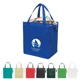 Custom promotional insulated grocery bag- Reusable Insulated Shopper Tote