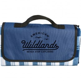 Imprinted Fold Up Picnic Blanket - Outdoor Stadium Blanket - Navy
