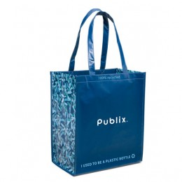 Best Reusable Custom Laminated Shopping Totes -  Laminated Recycled Shopper - Caribbean Blue