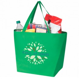 Custom Recycled Grocery Bags - Non-Woven Budget Shopper Tote - Kelly Green