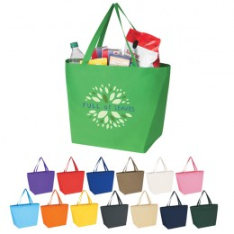 Custom Recycled Grocery Bags - Non-Woven Budget Shopper Tote