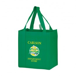 Medium Heavy Duty Non-Woven Grocery Bag with Poly Board Insert - 12 x 13 x 8