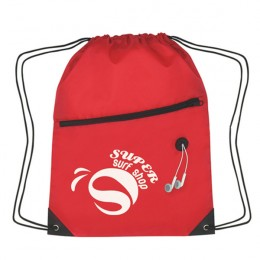 Slant Zipper Drawstring Sports Bag-Red